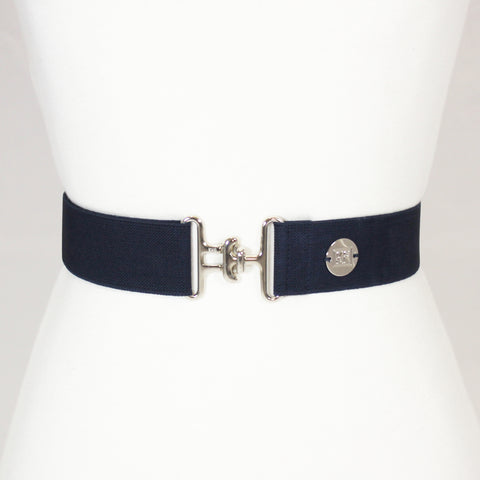 "Navy elastic adjustable belt with 1.5"" silver surcingle buckle by KF Clothing"