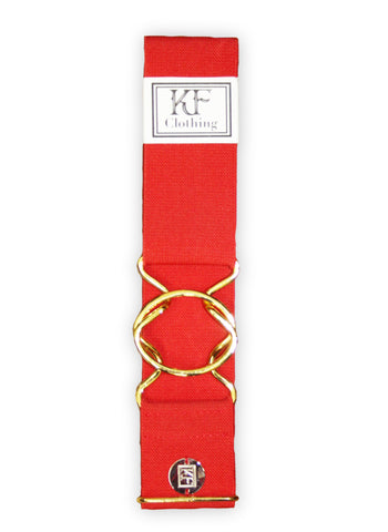 "Red elastic belt with 2"" gold interlocking clasp by KF Clothing"