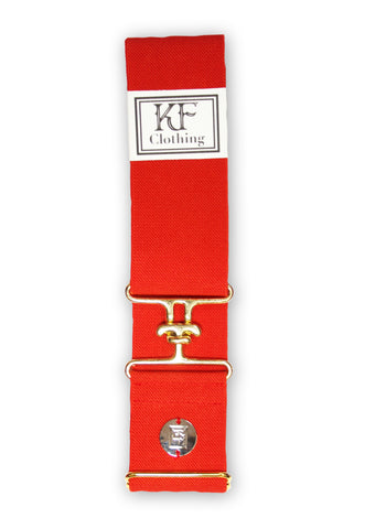 "Red elastic belt with 2"" gold surcingle clasp by KF Clothing"