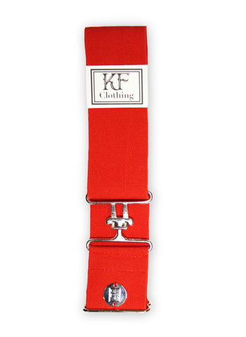 "Red elastic belt with 2"" silver surcingle clasp by KF Clothing"