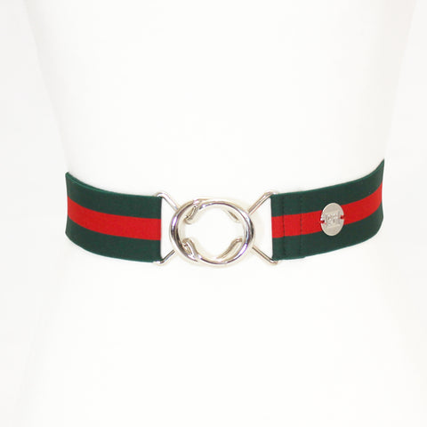 "Red green stripe elastic belt with 1.5"" silver interlocking clasp by KF Clothing"