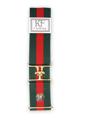 "Red green stripe elastic belt with 2"" gold surcingle clasp by KF Clothing"