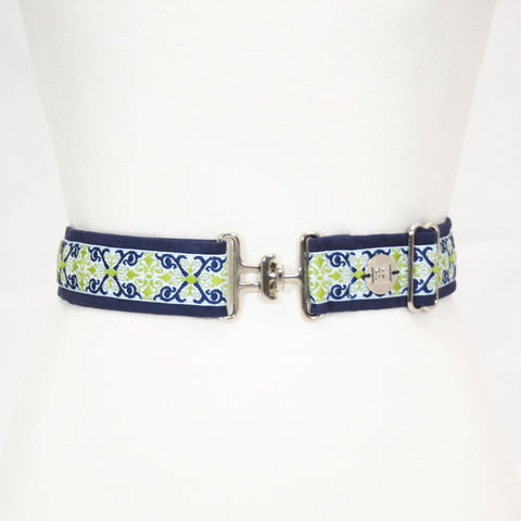 "Royal & Green renaissance belt with 1.5"" silver surcingle buckle by KF Clothing"