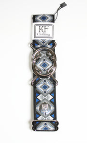 "Royal  diamond belt with 1.5"" silver interlocking buckle by KF Clothing"
