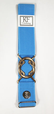 "Sky blue elastic belt with 1.5"" rose gold interlocking buckle by KF Clothing"