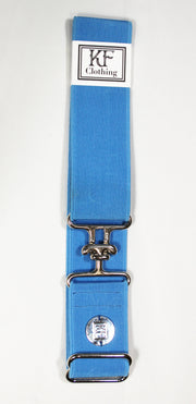 "Sky blue elastic belt with 1.5"" silver surcingle buckle by KF Clothing"