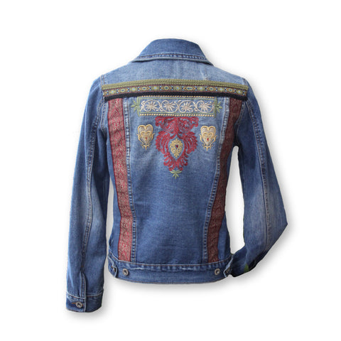 Blue denim jean jacket embellished with embroidery by KF Clothing