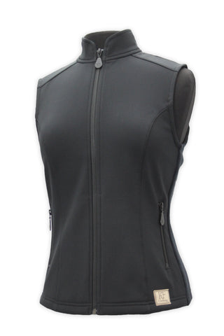 Front view of Charlotte vest in black by KF Clothing