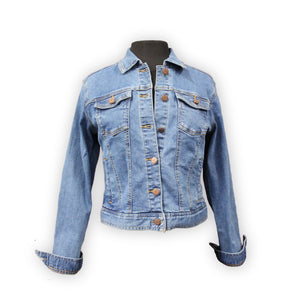 Blue denim jacket by KF Clothing.  Front view