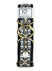 "Black renaissance adjustable belt with 2"" gold interlocking buckle by KF Clothing"