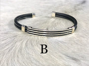 Leather bangle - slim