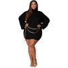 Curvy Black Sweater Lantern Sleeve Dress
