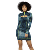Blue & Green Long Sleeve Tye Dye Bodycon Dress