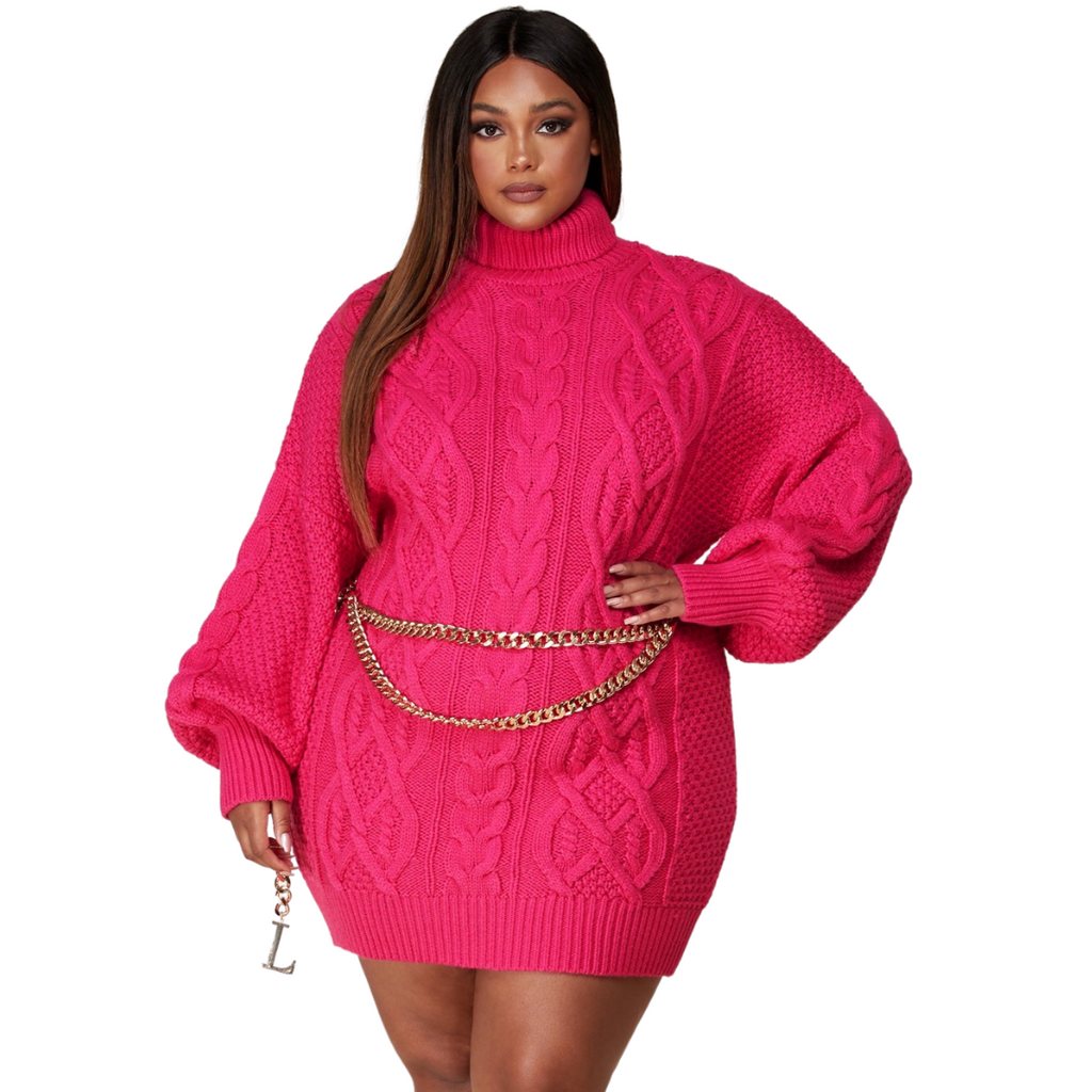 Curvy Pink Sweater Dress