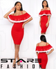 Valentines Day Red Off Shoulder Midi Dress