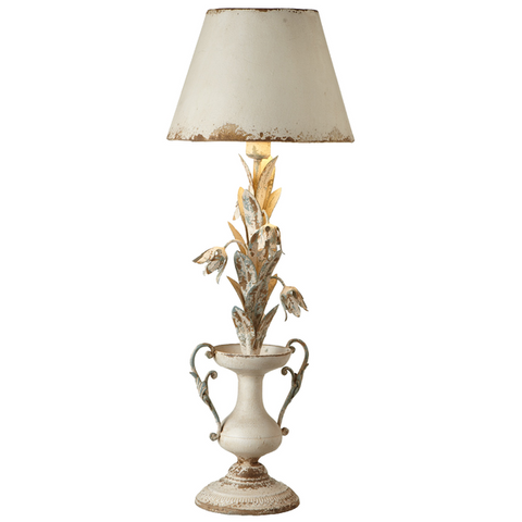 Distressed Ivory Flower Lamp