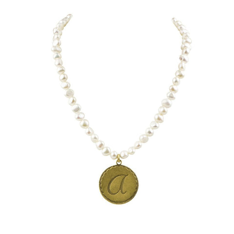 John Wind - Sorority Gal Cotton Pearl Initial Necklace