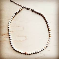Natural Howlite Beaded Collar Length Necklace