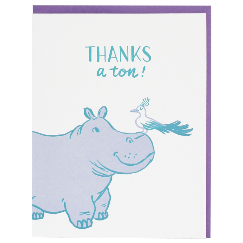 Smudge Ink - Hippo Thank You Card