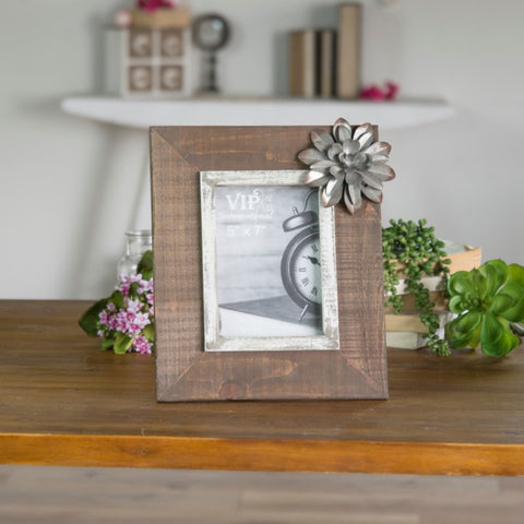 |WD. PICTURE FRAME W/ FLOWER (16/cs)|
