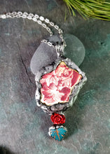 Red Floral Maine Sea Pottery Necklace