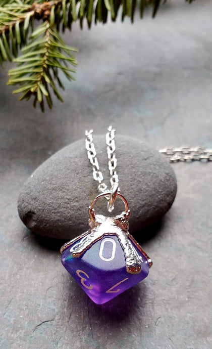 Otherworlds Purple Gaming Die D10 Necklace