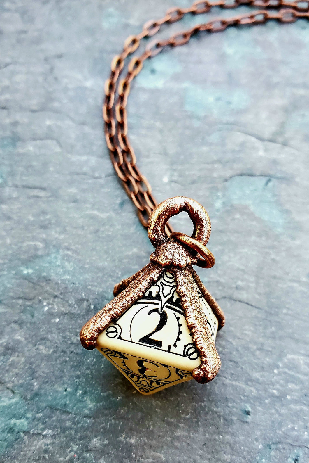 Otherworlds D8  Gaming Die Dice Antiqued Copper Necklace