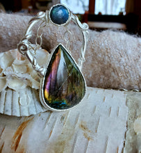 The Enchanted Mirror: Pink & Blue Labradorite Pendant