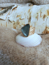 Atlantis Found: Gray Sea Glass Rose Gold Pinkie Ring (Size 2)