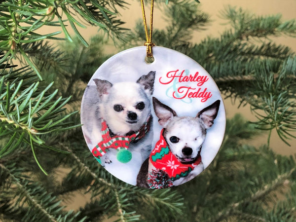 Ceramic 'Harley & Teddy' Round Ornament