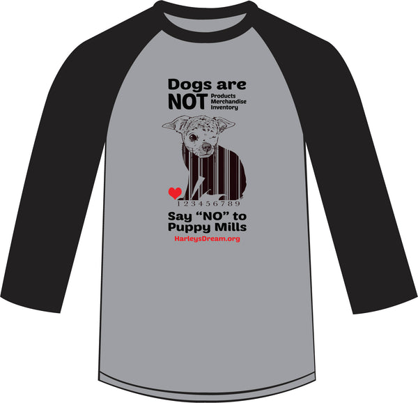 "Raglan Shirt (Unisex, Heather Grey/Black) - ""Dogs are NOT Products"""