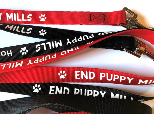 Dog Leash in Red or Black - End Puppy Mills