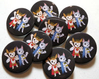 Harley & Teddy Superheroes Buttons (2 pack)