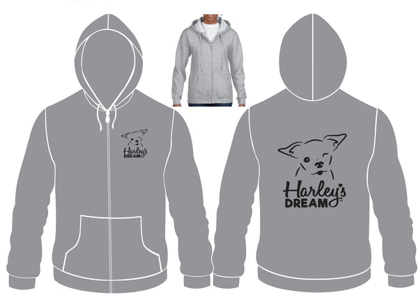 Zip Hoodie (Ladies, Gray) - Harley's Dream