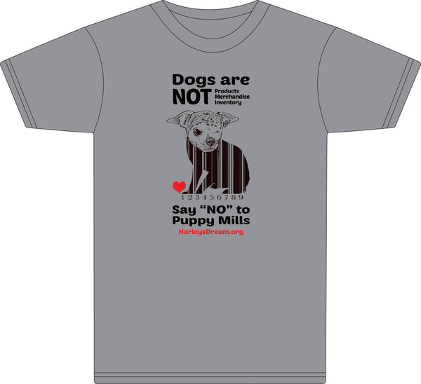 "T-Shirt (Unisex) Heather Grey - ""Dogs Are NOT Products"""