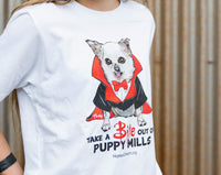 T-Shirt (Youth, White) - Take a Bite out of Puppy Mills!
