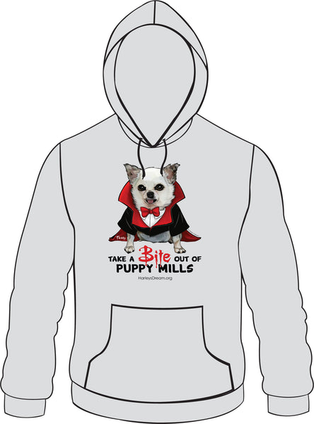 Hoodie (Unisex, Gray) - Take a BITE out of Puppy Mills!