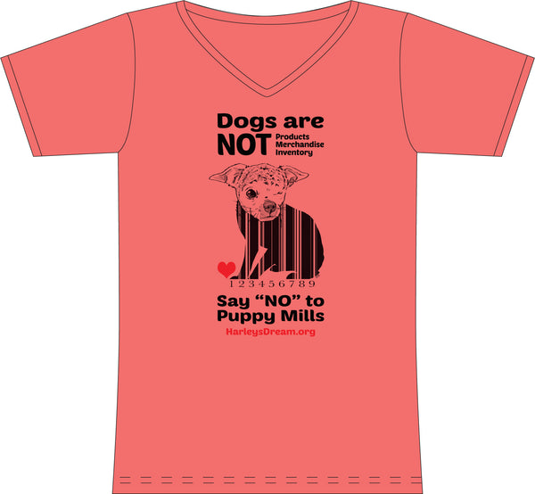 "T-Shirt (Ladies, V-Neck) Coral - ""Dogs are NOT Products"""