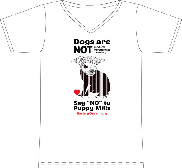 "T-Shirt (Ladies, V-Neck) White - ""Dogs are NOT Products"""