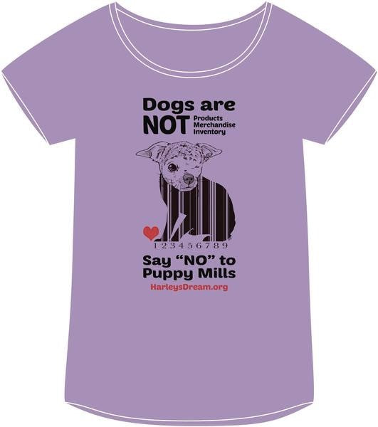 "Shirt (Ladies, Relaxed-Fit) Lilac - ""Dogs are NOT Products"""
