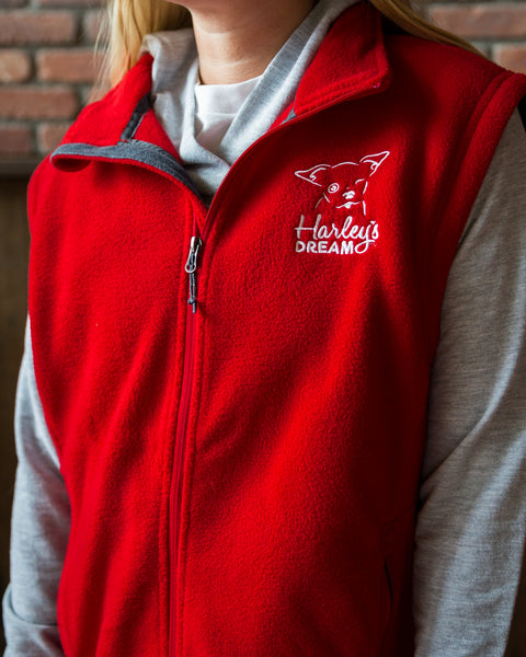 Fleece Vest (Unisex) - Red - Harley's Dream