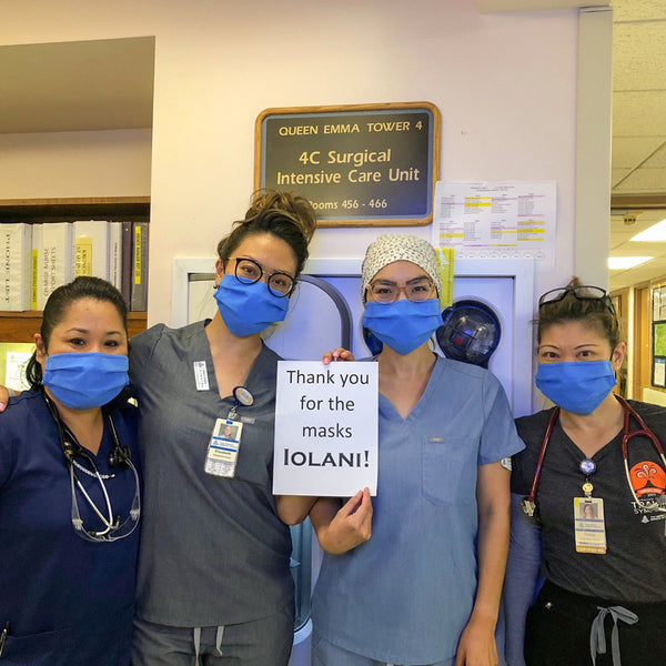 Nurses at Queen's Hospital wearing 'IOLANI-made masks
