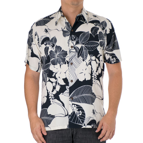 HIBISCUS SHADOW MODERN FIT ALOHA SHIRT
