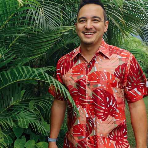 TROPICAL MONSTERA MODERN FIT ALOHA SHIRT