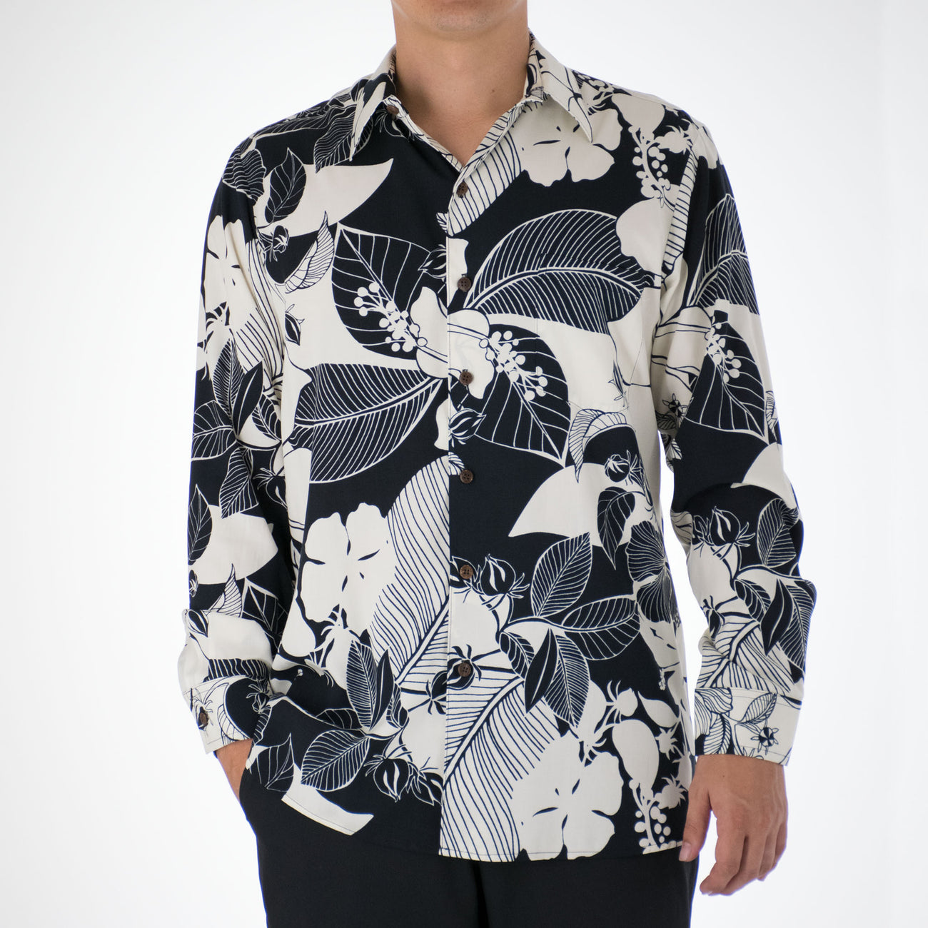 HIBISCUS SHADOW LONG SLEEVE ALOHA SHIRT