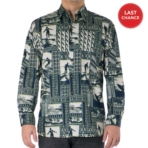 HANG TEN LONG SLEEVE ALOHA SHIRT