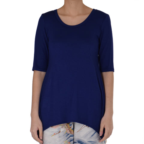 SOLID ASYMMETRICAL KNIT TUNIC 1/2 SLEEVE