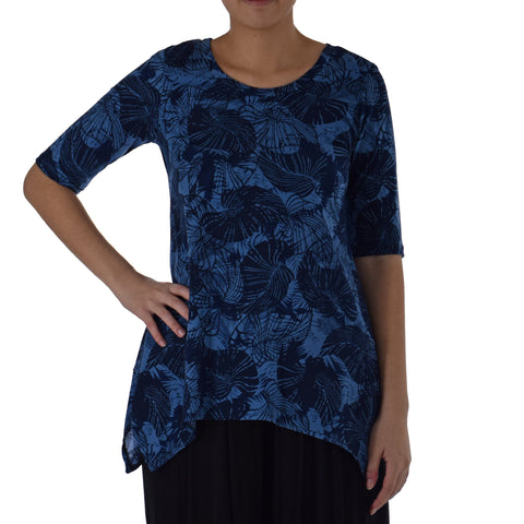 TROPICAL TUMBLE ASYMMETRICAL KNIT TUNIC 1/2 SLEEVE