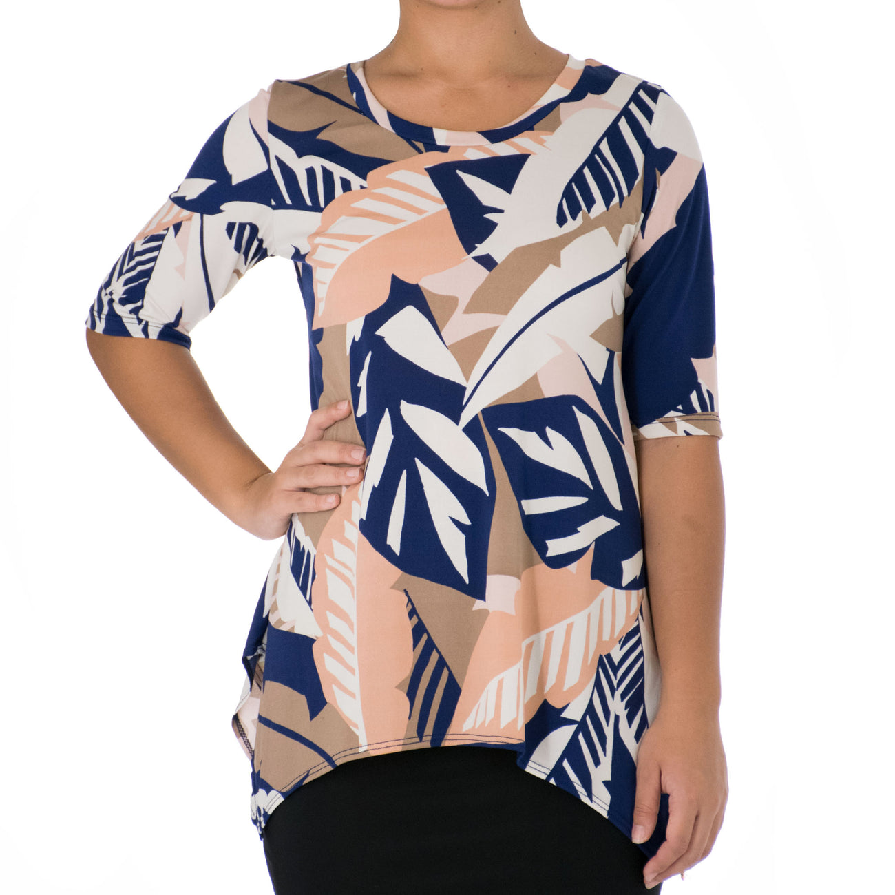 WAI'OLU ASYMMETRICAL KNIT TUNIC 1/2 SLEEVE