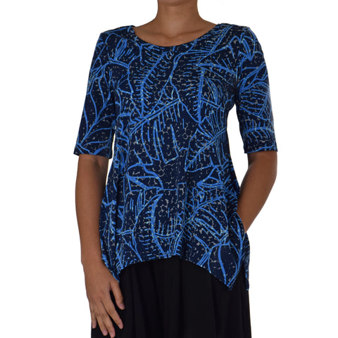 WAIPI'O ASYMMETRICAL KNIT TUNIC 1/2 SLEEVE